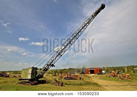 ROLLAG, MINNESOTA, Sept 1. 2016: The restored steam shovel is from Bucyrus-Erie, an American surface and underground mining equipment company founded as Bucyrus Foundry and Manufacturing Company in Bucyrus, Ohio in 1880.