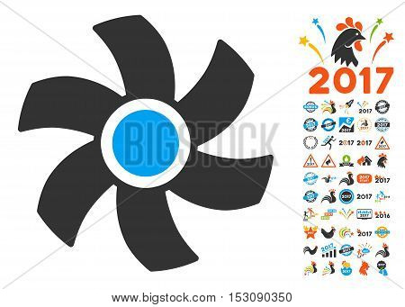 Rotor pictograph with bonus 2017 new year design elements. Glyph illustration style is flat iconic symbols, blue and gray colors, white background.