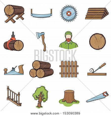 Sawmil and timber set icons in cartoon style. Big collection sawmill and timber vector symbol stock