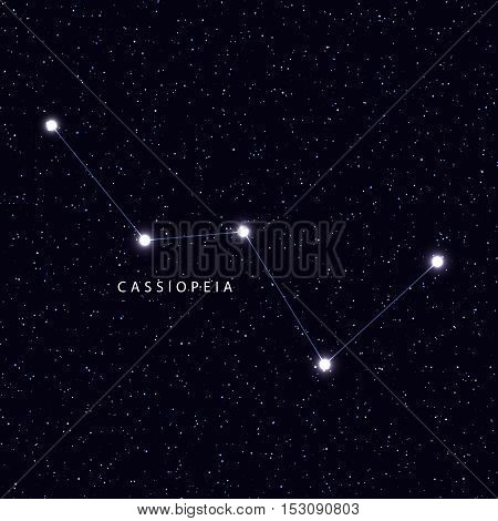 Sky Map with the name of the stars and constellations. Astronomical symbol constellation Cassiopeia