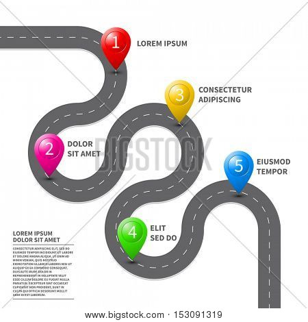 Pathway roadmap with route pin icon on the way track. Vector top view road map template design