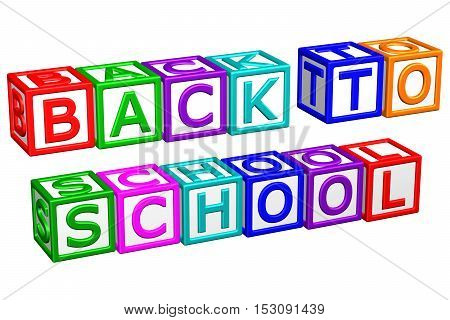 Blocks with word: Back to School isolated on white background. 3D rendering.