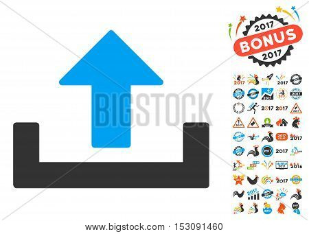 Upload pictograph with bonus 2017 new year pictograph collection. Glyph illustration style is flat iconic symbols, blue and gray colors, white background.