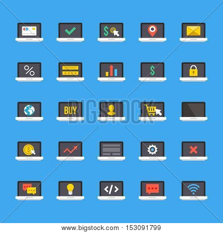 Laptop icons set. Notebook screens. Business, ecommerce, internet. technology, coding, banking, shopping concepts signs and symbols collection. Flat design vector icons isolated on blue background