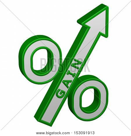 Concept: percent growth. Percent sign with arrow with gain isolated on white background. 3D rendering.