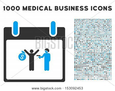 Blue And Gray Arrest Calendar Day glyph icon with 1000 medical business pictograms. Set style is flat bicolor symbols, blue and gray colors, white background.
