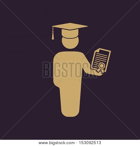 The graduate with diploma icon. School and university, learning, education symbol. Flat Vector illustration