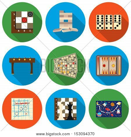 Board games set icons in flat style. Big collection board games vector symbol stock