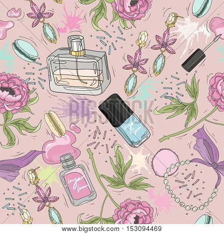 Seamless beauty pattern with make up perfume nail polish flowers jewelry.