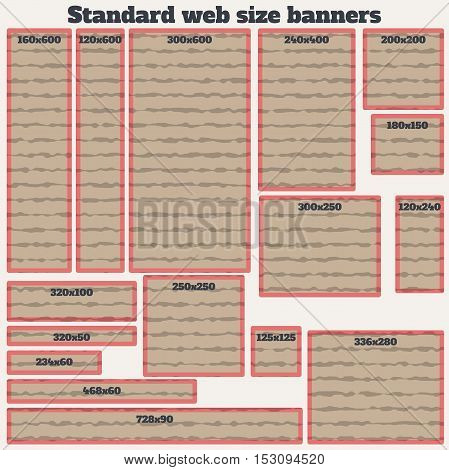 empty box standard size web banners blank set. vector web banners with texture. standart size web banner in cardboard material design style. web banner template.