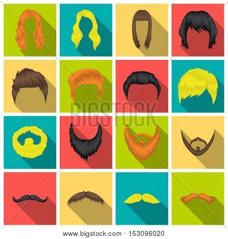 Beard set icons in flat style. Big collection beard vector symbol stock