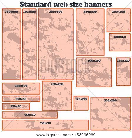 empty box standard size web banners blank set. vector web banners with texture. standart size web banner with abstract texture material design style. web banner template.