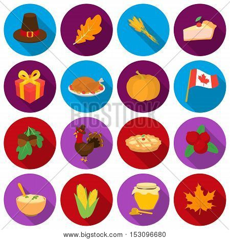 Canadian Thanksgiving Day set icons in flat style. Big collection canadian Thanksgiving Day vector symbol stock