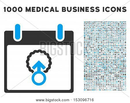 Blue And Gray Cell Penetration Calendar Day glyph icon with 1000 medical business pictograms. Set style is flat bicolor symbols, blue and gray colors, white background.