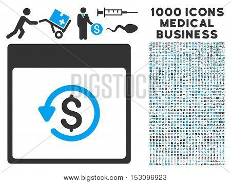 Blue And Gray Chargeback Calendar Page glyph icon with 1000 medical business pictograms. Set style is flat bicolor symbols, blue and gray colors, white background.