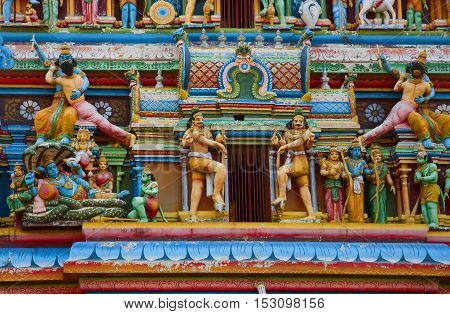 Gopuram with statues of hindu gods in Negombo Sri Lanka