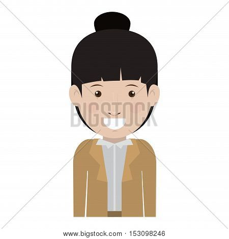 avatar female woman smiling wearing executive clothes over white background. vector illustration