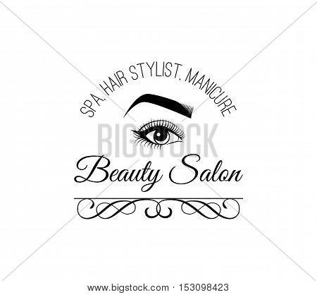 Female Eye. Beauty Salon Label. Mascara for Eyelashes. Eye Makeup. Badge. Filigree Swirls and Curls Decorations Vector Illustration. Isolated