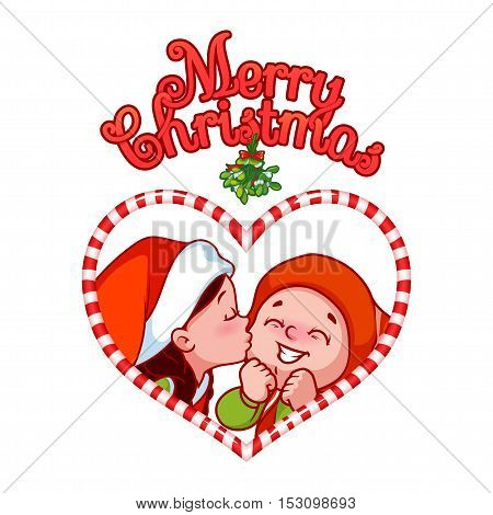 Cartoon Santa's little helpers are kissing under mistletoe in candy frame. Design element for Christmas greeting card. Vector cartoon illustration on a white background.