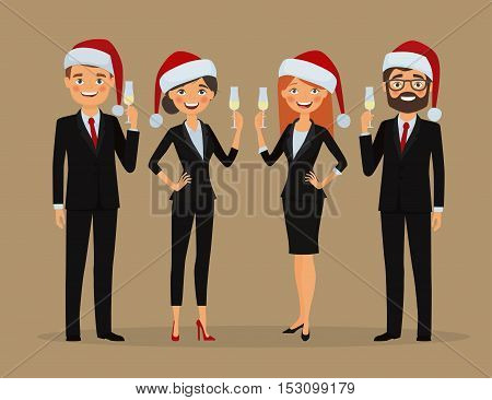 Congratulations on Christmas holidays. Business team dressed in Christmas hats and in business suits congratulate on the holiday. Businessman and businesswoman congratulates with glass of champagne