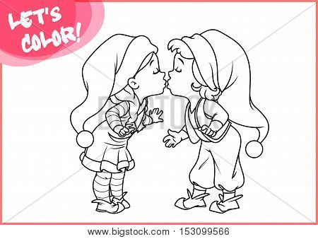 Cartoon Santa's little helpers are kissing. Page for coloring book. Vector illustration isolated on a white background.