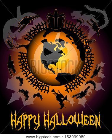 Halloween Around The World.Halloween in USA. Halloween in America. Happy Halloween card. Halloween background with house, cat, y pumpkins, moon, witch, owl and bats.