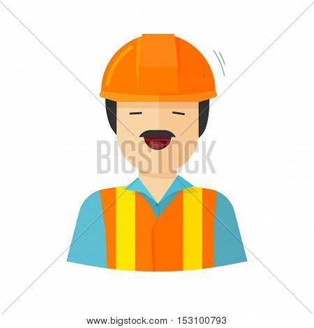 Worker vector illustration isolated on white background, construction builder character in helmet, workman happy face, engineer repairman flat cartoon style poster