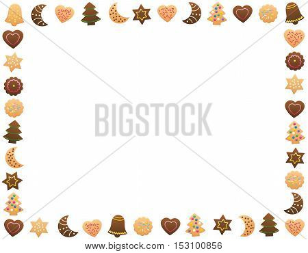 Christmas cookies and gingerbread cookies - horizontal frame.