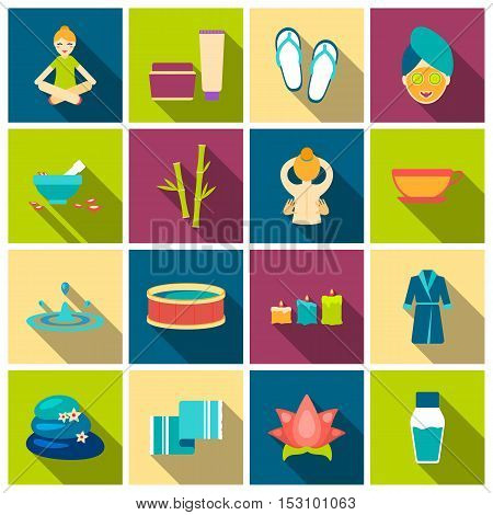Spa set icons in flat style. Big collection spa vector symbol stock
