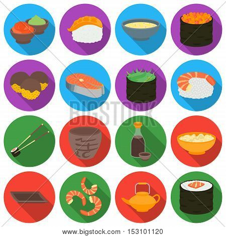 Sushi set icons in flat style. Big collection sushi vector symbol stock