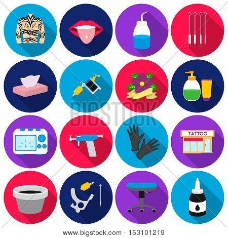 Tattoo studio set icons in flat style. Big collection tattoo studio vector symbol stock
