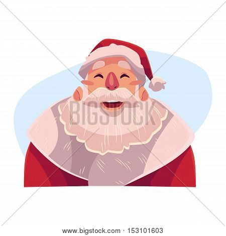 Santa Claus face, laughing facial expression, cartoon vector illustrations isolated on blue background. Santa Claus emoji laughing out load with closed eyes and open mouth. Laughing face expression
