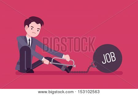 Businessman chained with a giant metall weight with a title Job trying to escape, sawing. Cartoon vector flat-style concept illustration