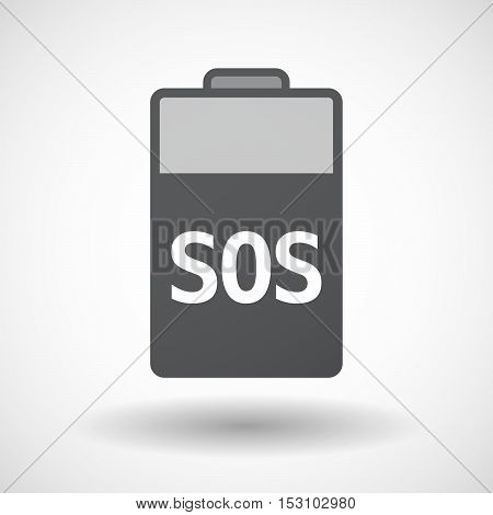 Isolated  Battery Icon With    The Text Sos