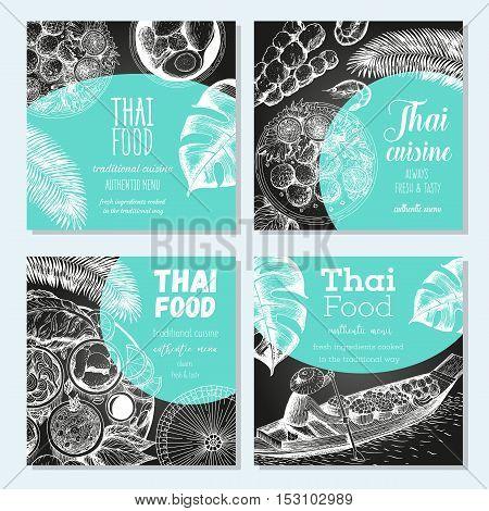 Asian food banner set. Asian food square banner collection. Thai food menu restaurant. Thai food sketch menu. Linear graphic