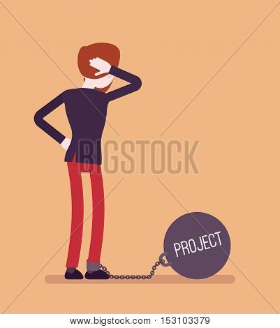 Businessman chained with a giant metall weight, written Project on a ball, thinking the problem over, scratching his head. Rear view. Cartoon vector flat-style concept illustration