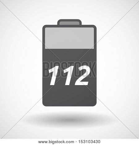 Isolated  Battery Icon With    The Text 112