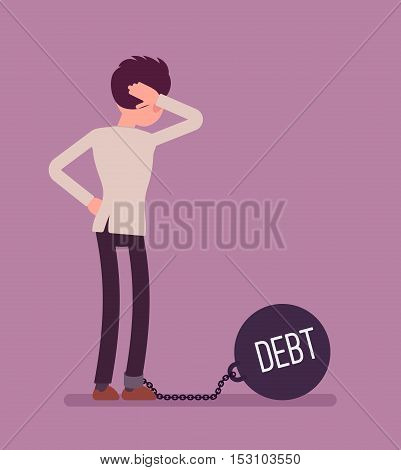 Businessman chained with a giant metall weight, written Debt on a ball, thinking the problem over, scratching his head. Rear view. Cartoon vector flat-style concept illustration