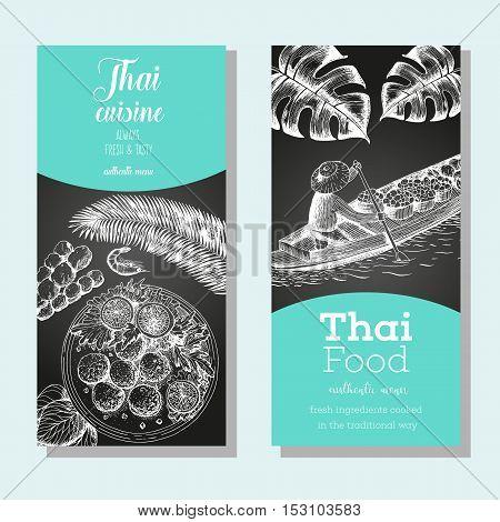 Asian food banner set. Asian food vertical banner collection. Thai food menu restaurant. Thai food sketch menu. Linear graphic