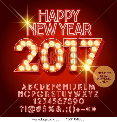 Vector light up Happy New Year 2017 greeting card with set of letters, symbols and numbers. File contains graphic styles