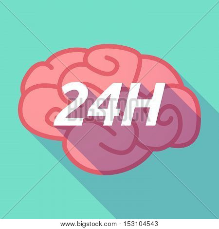 Long Shadow Pink Brain Icon With    The Text 24H
