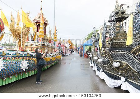 Suratthani, Thailand - October 20, 2016: Ornamented carriers of Buddha images to be pulled across the city during the famous Chak Phra Festival, an annual Buddhist festival to celebrate the return of Buddha from heaven to earth after the end of the three-