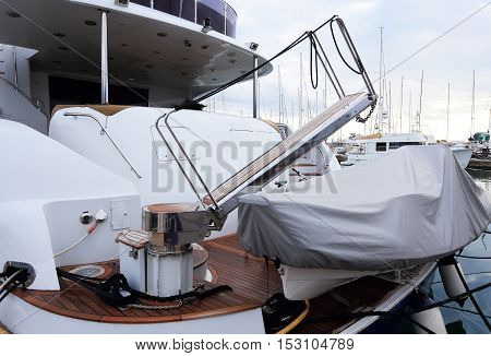 Stern Of White Luxury Yacht