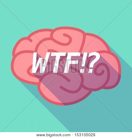 Long Shadow Pink Brain Icon With    The Text Wtf!?