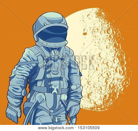 Spaceman on the background of the moon. Vector illustration.