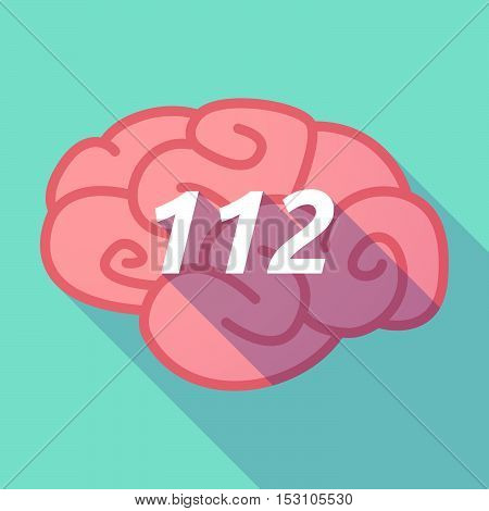 Long Shadow Pink Brain Icon With    The Text 112