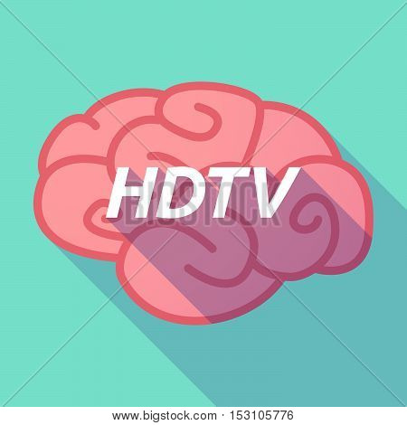 Long Shadow Pink Brain Icon With    The Text Hdtv