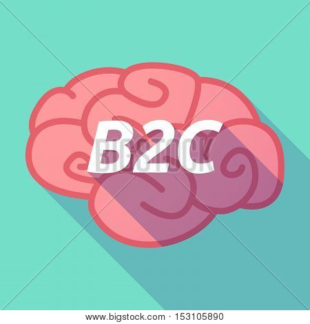 Long Shadow Pink Brain Icon With    The Text B2C