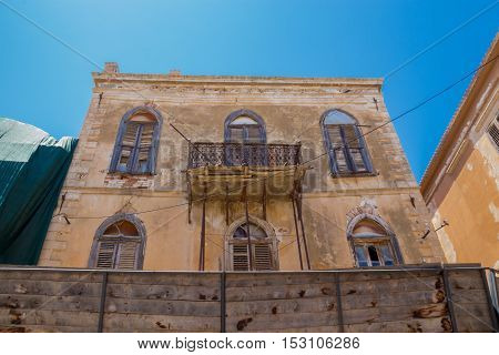 Rethymno, Greece. July  26. 2016: Old Building In Old City Of Rethymno.