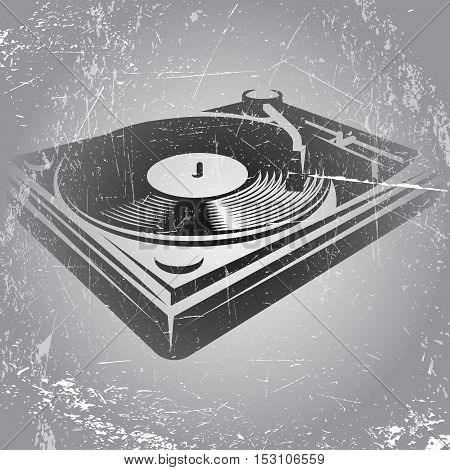 vector illustration in retro style with DJ console on gray background with scratches